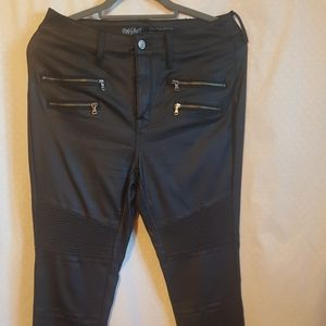Super stretch faux leather denim jeans